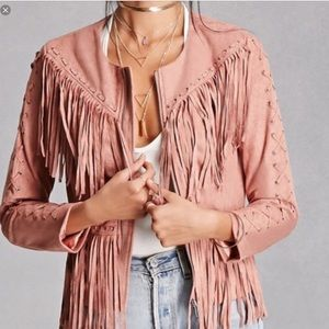 NWT Blush Noir Vegan Suede Blush Fringe Jacket S